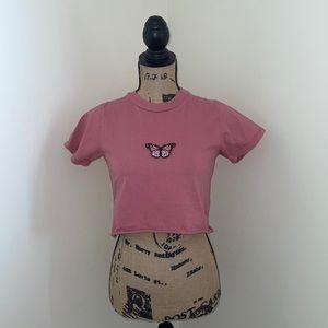 Women's XS/S, Brandy Melville, Pink Butterfly Top